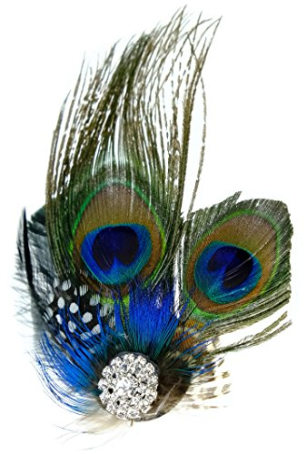 1920s Peacock Feather Costume Hair Clip Flapper Headpiece Hat (Feather Hat)