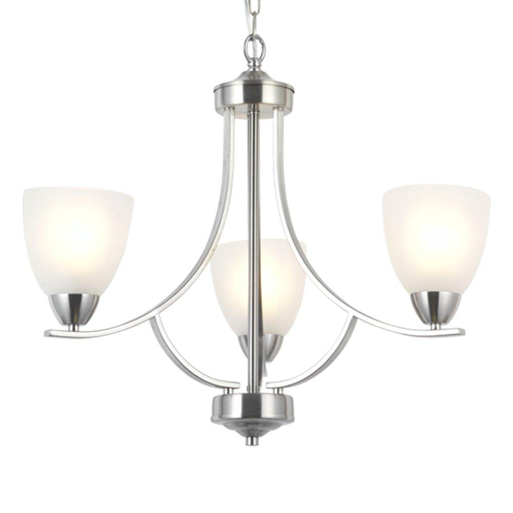 Vinluz 3 light contemporary chandeliers brushed nickel modern light fixtures ceiling hanging classic pendant lighting for foyer bedroom dining room bathroom