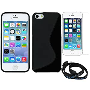 BIRUGEAR Black S-Shape Flexible Soft Gel Skin Cover Case plus Clear LCD Screen Protector for Apple® iPhone® 5S , 5, 6th Generation iPhone, The New iPhone with * Neck Strap Lanyard *