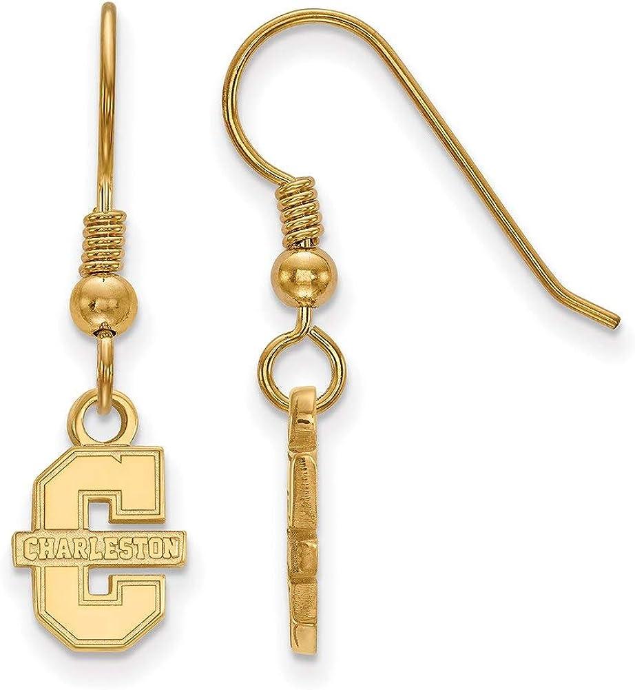 Lex /& Lu LogoArt Sterling Silver w//GP College of Charleston XS Dangle Earrings LAL138599