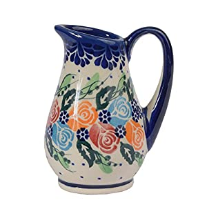 Traditional Polish Pottery, Handcrafted Ceramic Creamer 100ml, Boleslawiec Style Pattern, J.301.Rosy