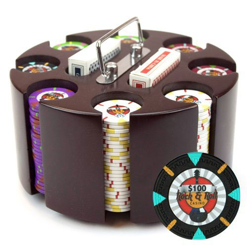 Claysmith Gaming 200-Count 'Rock & Roll' Poker Chip Set in Wooden Carousel,...