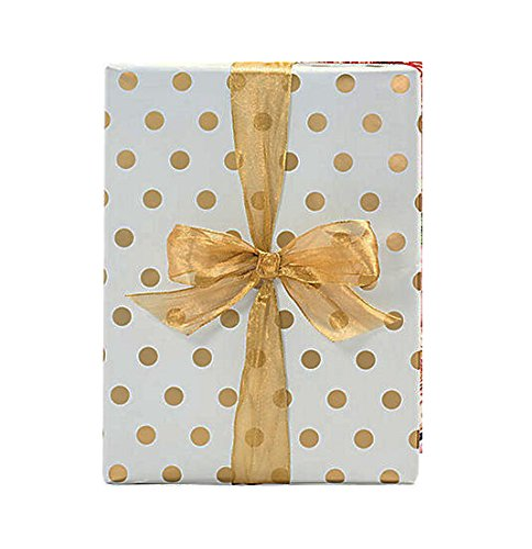 20 Ft Gold Foil Polka Dot Wrapping Paper - 30