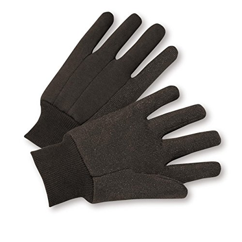 Dotted Jersey Glove - West Chester 750PD Standard Poly Cotton Jersey Gloves with Dots, Large, Brown