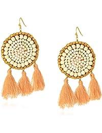 White Howlite and Pearl Boho Statement Earrings