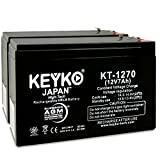 Para Systems Minuteman MM500 CP/2 UPS 12V 7Ah Fresh & REAL 7.2 Amp AGM SLA Sealed Lead Acid Rechargeable Genuine KEYKO KT-1270 - F1/F2-2 Pack
