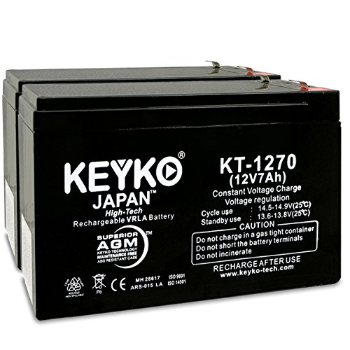 - 12V 7Ah Battery - 2 Pack - Fresh & REAL 7.2 Amp AGM/SLA Sealed Lead Acid Rechargeable Genuine KEYKO Replacement SKU KT-1270 - F1 / F2 Adapter