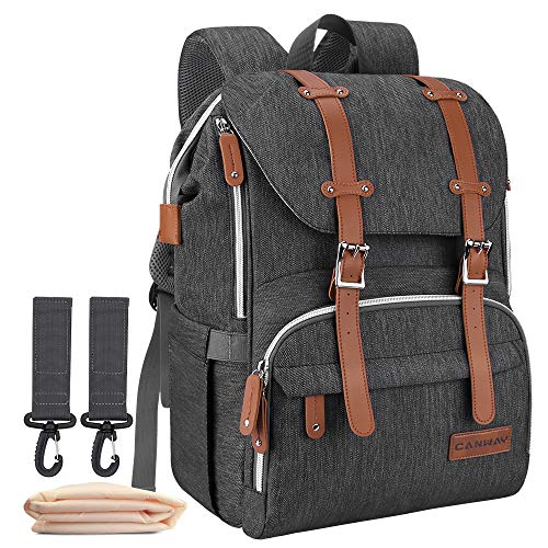 Diaper Bag Backpack, Large Baby Bag Multi-Function Waterproof Nappy Bag with Changing Pad and Stroller Straps for Unisex Travel Shopping (Black)