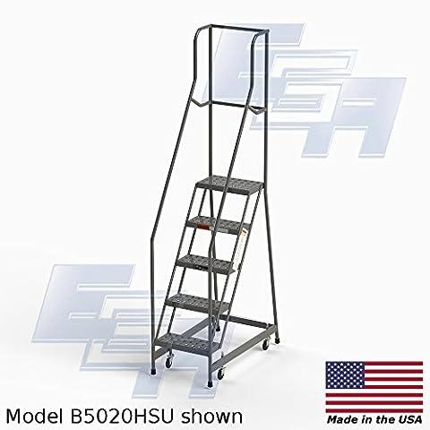 5 Step Rolling Ladder with Industrial tread by EGA – AMERICAN MADE (B05020HSU) - Access Steel Ladder