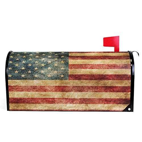 (Wamika Vintage American Flag US Stars and Red Stripe Mailbox Covers Standard Size Patriotic American Star Stripe Magnetic Mail Cover Letter Post Box 21