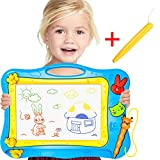 Kids Magnetic Drawing Board (Travel Size)Doodle Writing Board with 4 Color, Erasable Sketch Pad for Toddler Preschool Creative Development Toy.Come With Stampers, Bonus Pen & Picture Book by Lamaston (Bule, L)