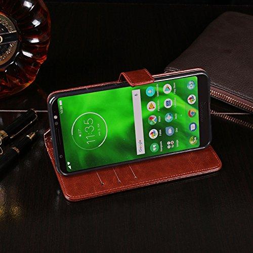 COQUE Caja del teléfono de Moto G6 Plus, billetera del tirón del cuero de imitación del estilo del libro con la caja de la ranura para tarjeta para Moto G6 Plus(Rojo) Marrón