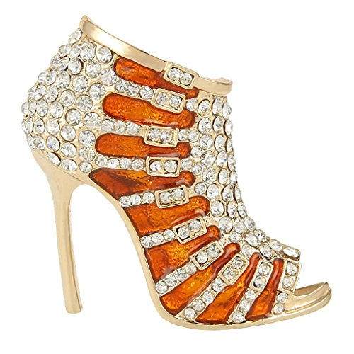EVER FAITH Austrian Crystal Brown Enamel Sexy High Heel Brooch Pin Clear ()