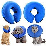 Ranphy Pet Protective Inflatable Elizabethan Collars Dogs Cats Recovery Cones for Wound Healing Surgery Recovering Blue Size S