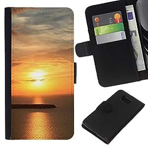 KLONGSHOP // Tirón de la caja Cartera de cuero con ranuras para tarjetas - Puesta de sol Mar Beautiful Nature 24 - Samsung ALPHA G850 //