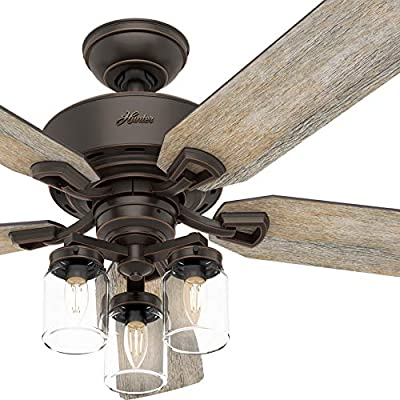 Hunter Fan 52 inch Traditional Onyx Bengal Indoor Ceiling Fan w/LED Lights & Remote Control (Renewed)
