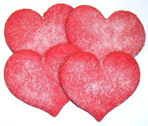 Scott's Cakes Red Heart Shaped Sugar Cookies with White Sugar in a 1 Pound Clear Cello Bag
