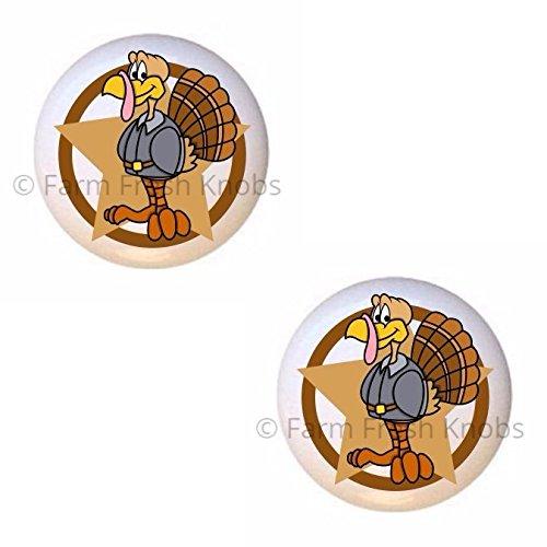 (SET OF 2 KNOBS - Funny Turkey with Star - Turkeys - DECORATIVE Glossy CERAMIC Cupboard Cabinet PULLS Dresser Drawer KNOBS)