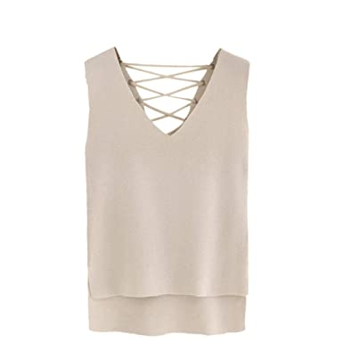 Gotd Women Sleeveless Backless Tank Tops Vest Blouse Tops T Shirt Tee (S