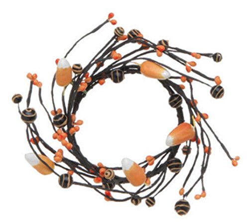(Ship from USA) NEW RAZ Imports Halloween Black & Orange Faux Candy Corn & Bead Candle Ring /ITEM#H3NG UE-EW23D47684 (Top 10 Best Candy For Halloween)