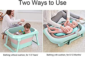Portable Collapsible Newborn Toddler Bath Support for 1-5 Years Folding Infant Bathtub BEWAVE Baby Bath Tub