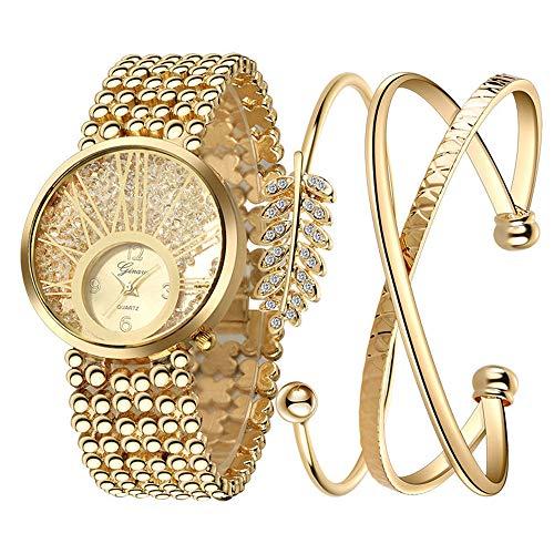 Dial Bangle Bracelet Watch - Women's Wrist Watch & Bangle Set, Dress Wristwatch & Gold Crystal Alloy Bracelet Ladies by Bravetoshop G-004 (1 Set of 3, Gold)