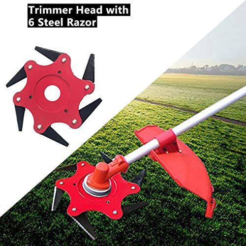 wonuu 6 Teeth Brush Cutter Blade, Metal Weed Eater Brush Clearing Saw Blades Trimmer Cutting Head 65mn Garden Grass Trimmer Head for Lawn Mower