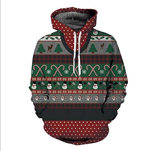 Con Rbop Felpa Albero Sweatshirt Uomo Pullover Pupazzo Natale Maniche Di Lunghe 3d Unisex Stampato Cappuccio Tasche Sportive Neve wfBpf