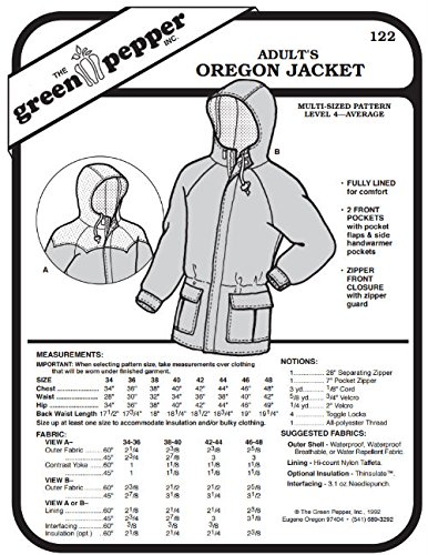 Green Pepper Fabric - Adults' Oregon Jacket Coat #122 Sewing Pattern (Pattern Only)