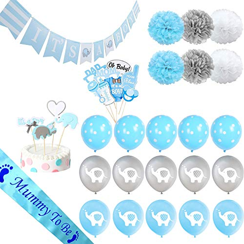 Haimimall Baby Shower Decorations for Boy It's A BOY Banner Elephant style, Balloons, Mummy To Be Sash, Baby Shower Photo Booth Props, Cake Topper, Pom Poms ()