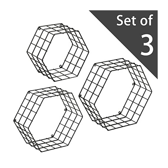 MyGift Metal Wire Hexagon Design Wall-Mounted Shelves, Set of 3, Black - Modern metal mesh wire hexagonal shaped floating shelves with matte black powder-coat finish. Features 3 metal shelves, varying in size with wire exterior and wall mounting abilities and unique honeycomb design. Perfect for storing and displaying books, toys, collectibles, plants and much more. - wall-shelves, living-room-furniture, living-room - 51VPW yzcYL. SS570  -