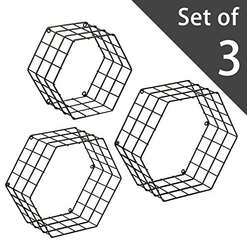 Mygift Metal Wire Hexagon Design Wall Mounted Shelves Set