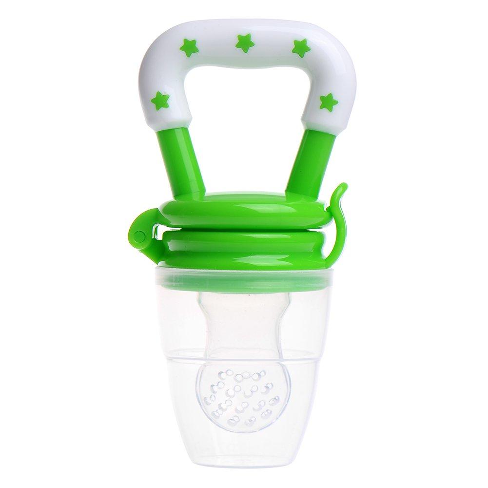 Tetine Grignoteuse Anneau d'Alimentation Bébé en Silicone Alimentaire avec Poignée et Protection pour Une Meilleure Transition entre Le Lait Maternel et La Nourriture Solide ou Les Fruits sans BPA Vert Fastar