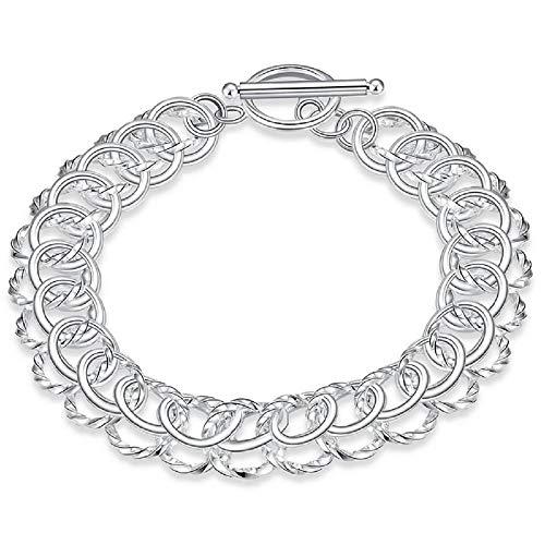 FAVOT 2019 Fashion Personalized Hollow Bracelet Classic New Silver Buckle Women Men's Bracelet Jewelry Present (Silver) ()