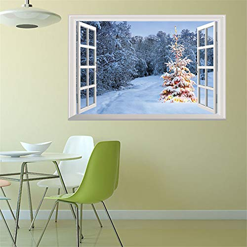 ZOMUSAR Wall Stickers for Window, Merry Christmas Sweet Holiday Scene Setters Party Decorations Wall Stickers (H)