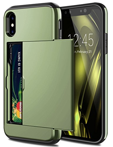 SAMONPOW iPhone X Case, iPhone 10 Case,Hybrid iPhone X Wallet Case Card Holder Shell Heavy Duty Protection Shockproof Defender Anti-Scratch Soft Rubber Bumper Cover Case for iPhone X - Olive