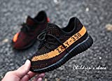Angels Club Boys Girls Casual Fashion Sneakers Breathable Athletic Sports Shoes(Toddler/Little Kid/Big Kid) (2.5 M US Little Kid/21cm, Black & Orange)
