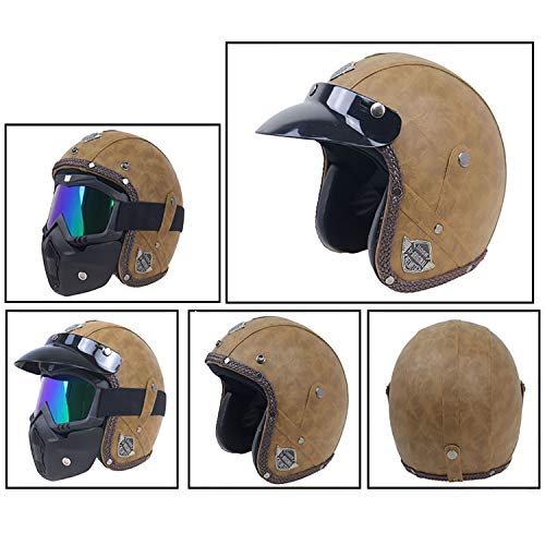 - MMGIRLS DOT Certified Motorcycle Helmet Retro Helmet Personality Leather Cruiser Men and Women Motorcycle Half Helmet Distribution Goggles mask Sun Visor (Classic Brown),M
