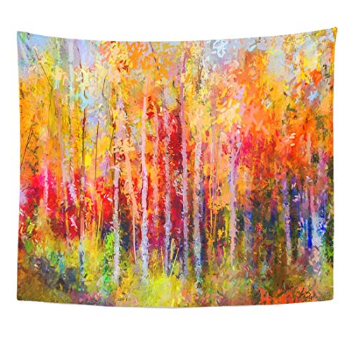 Seenpin Tapestry Oil Painting Landscape Colorful Autumn Trees Semi Abstract of Forest Aspen with Yellow Red Leaf Fall Home Decor Wall Hanging for Living Room Bedroom Dorm 50x60 Inches ()