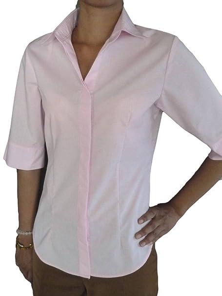 Unique Boutique - camiseta de manga larga camisa blanca de la mitad de la blusa de