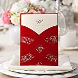Doris Home 100pcs Red Vertical Laser Cut Wedding Invitation Card with Hollow Flora,CW076