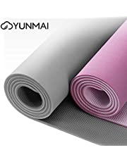 YUNMAI Premium Yoga Mat Thick with Dual-Layer, ¼-Inch Thickness 6mm, Eco-TPE Material, 100% PVC-Free, Yoga Mats for home, Yoga Mats thick Non Slip with Yoga Mat Bag, Gray