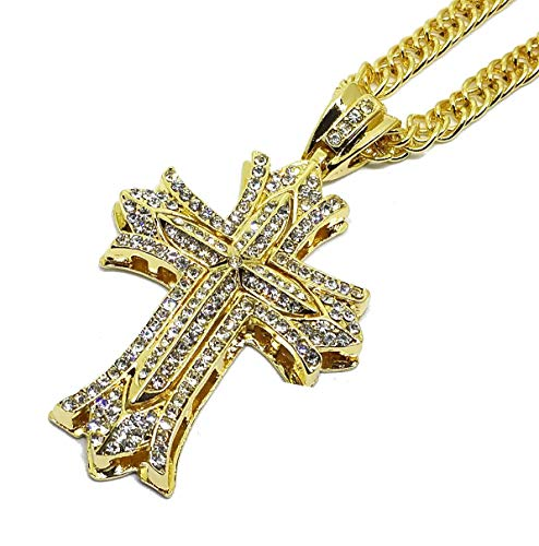 - Iced Out CZ Cross 14K Hip Hop Gold Plate Jewelry Bling Bling Pendant Necklace 30