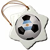3dRose orn_155041_1 Argentina Argentinean Argentinian Argentinan Flag Banner Soccer Ball National Country Porcelain Snowflake Ornament, 3-Inch