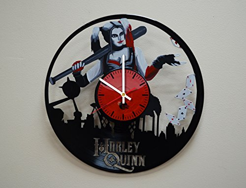 Taniastore Harley Quinn Design Handpainted Vinyl Record Wall Clock – Get Unique Bedroom or Living Room Wall Decor – Gift Ideas for His and Her – Unique DC Comics Fan Art For Sale