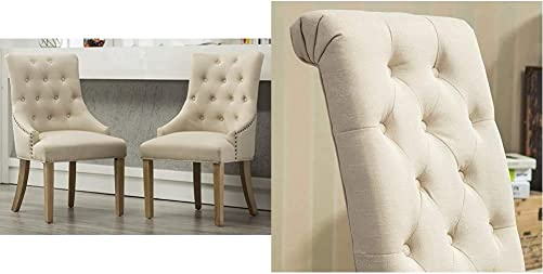 Roundhill Furniture Button Tufted Solid Wood Wingback Hostess Chair
