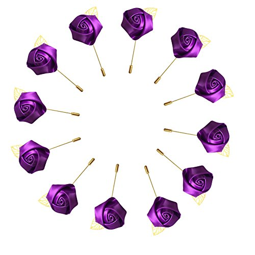 WeddingBobDIY 12Pieces/lot Groom Boutonniere Wedding Silk Rose(3.5cm) Flowers Accessories Prom Pin Man Suit Decoration Purple -