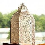 Deziworkz Ornate Candle Lantern, Moroccan Style With Jaali Cutwork, Large & Medium (Medium)