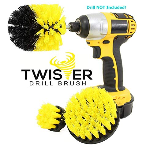 (Twister Drill Brush Surfaces Shower, Tub, Tile, Grout, Kitchen, Car, Shop, Home, Wheel and Tires All Purpose Power Scrubber Scrub Cleaning Kit)