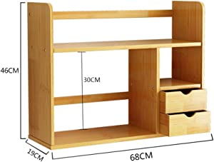 Bamboo Desktop Organizer,Expandable Adjustable with Drawers Multipurpose Desktop Bookshelf for Desk Vanity Tabletop-e 68x19x46cm(27x7x18inch)